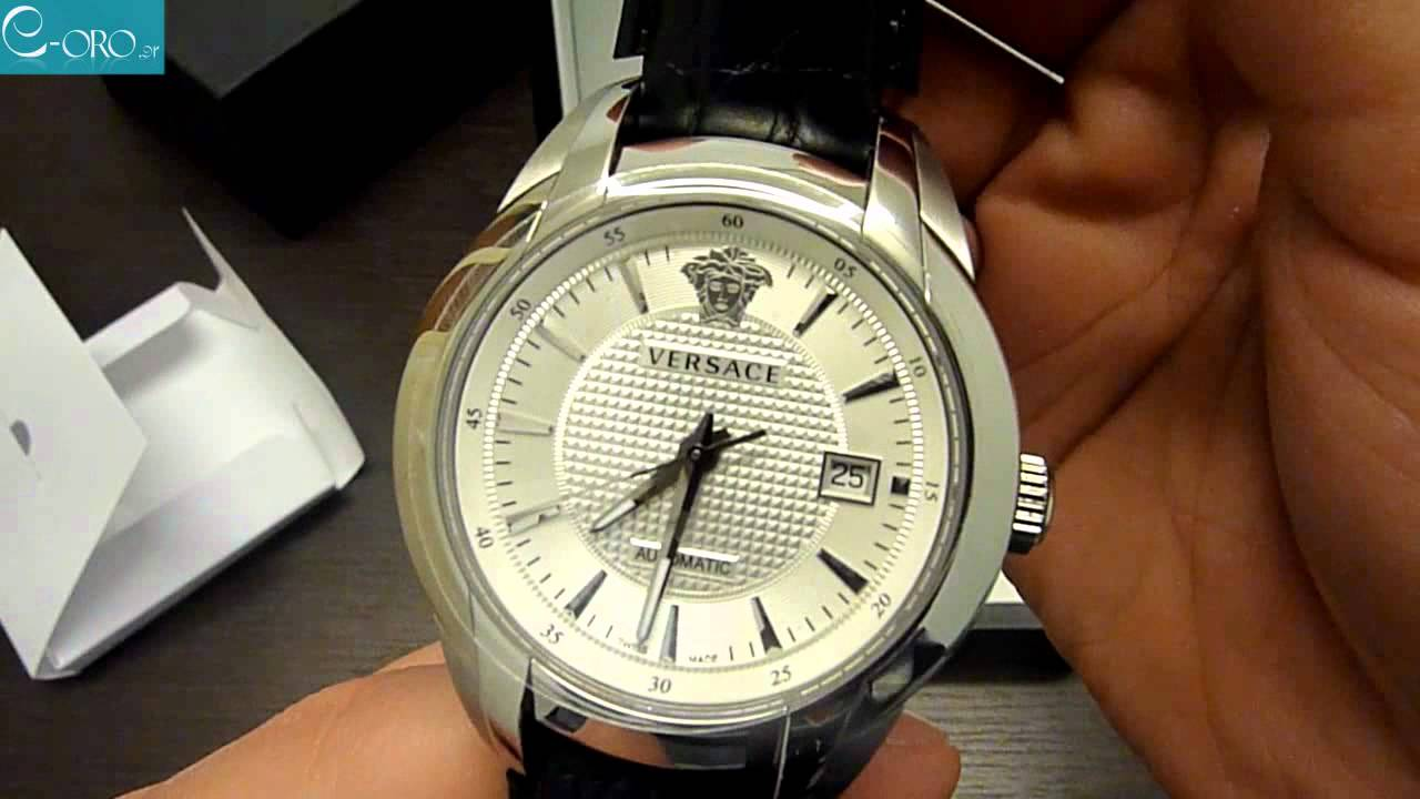 ffed69d31 VERSACE Automatic Black Leather Strap Mens Watch 25A399D002S009 - E-oro.gr