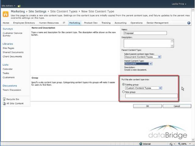 Using Content Types in a Document Library in SharePoint 2010.