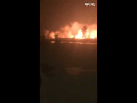 Tianjin chemical warehouse explodes live video on August 12th, 2015