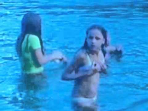 Something is. Young girls swimming topless think