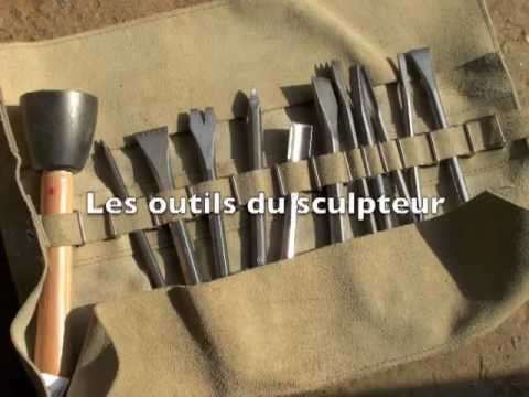 burin de sculpture sur pierre le ciseau plat youtube. Black Bedroom Furniture Sets. Home Design Ideas