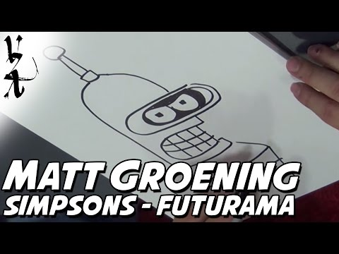 Matt Groening drawing Simpsons and Futurama