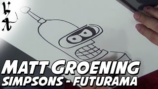 Matt Groening drawing Simpsons and Futurama - SDCC 2014