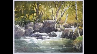 Watercolor Painting a Forest Stream