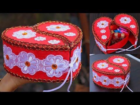 DIY Crafts: Jewellery Organizer | Heart Shaped Makeup Organizer Box | Handmade Craft