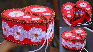 DIY Crafts: Jewellery Organizer | Heart Shaped Makeup Organizer Box | Handmade Craft