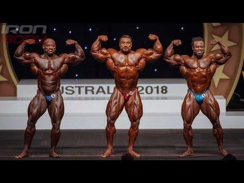 "2018 Arnold Classic Australia Top 3 ""Dexter Jackson, Roelly Winklaar, William Bonac"""
