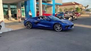 2020 Corvette C8 rolling out of Connell Chevrolet including revs and a demo of the front lift system