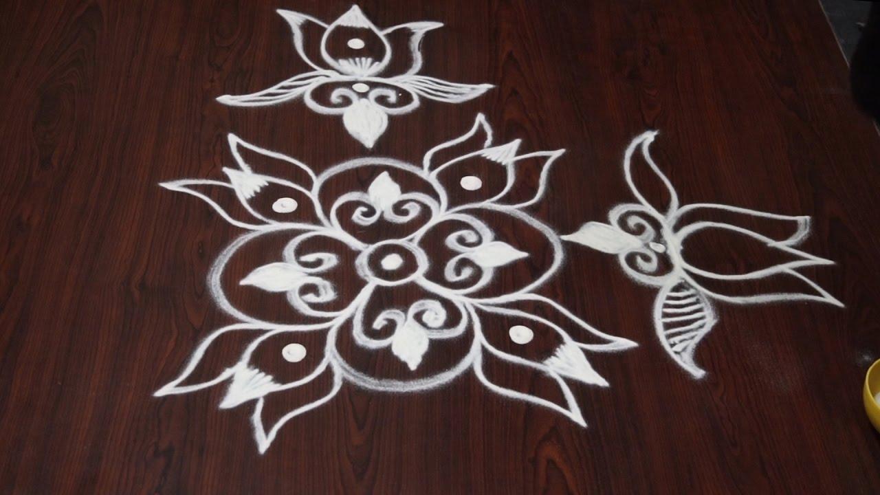 simple rangoli kolam designs without dots || free hand ...