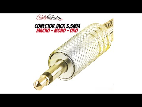 Video de Conector audio jack macho 3.5 mm mono  Dorado