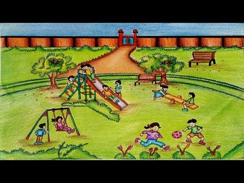 Park drawing - How to draw a park scene of children's play step by step