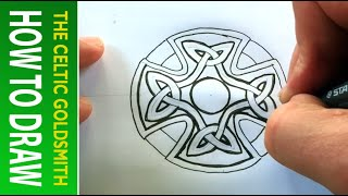 How to Draw Celtic Patterns 46 -  Celtic Cross with Triskeles - Leeds 4of5