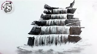 How to draw a Waterfall with pencil (spanish narrated)