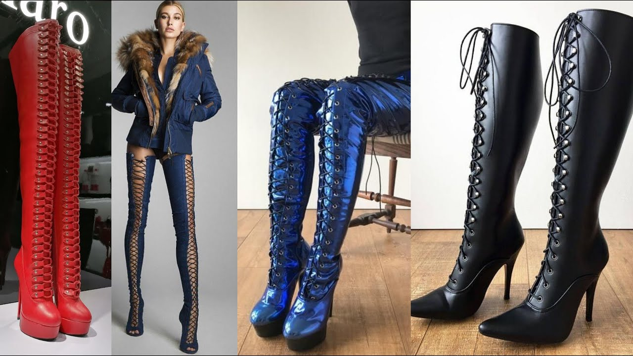 Very gorgeous & classy designer shiny latex & leather lace up thigh high boots outfits#2020