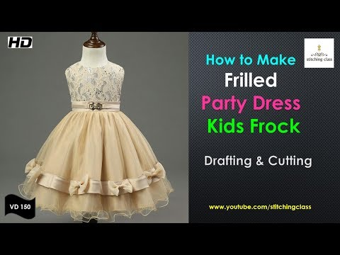 Frilled Kids Frock Design and Cutting Method, Kids Frock,Kids Frock Cutting