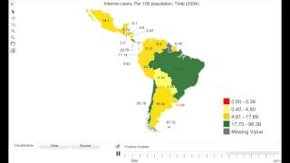 Internet Users in Latin America using DevInfo Time Series Map