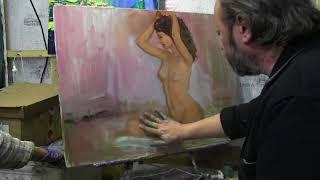 Игорь Сахаров, обнаженная фигура маслом, уроки живописи и рисунка в Москве