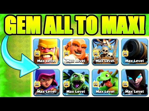 GEM ALL TO MAX!! - Clash Of Clans - PREPARING FOR BUILDERS HALL 8!