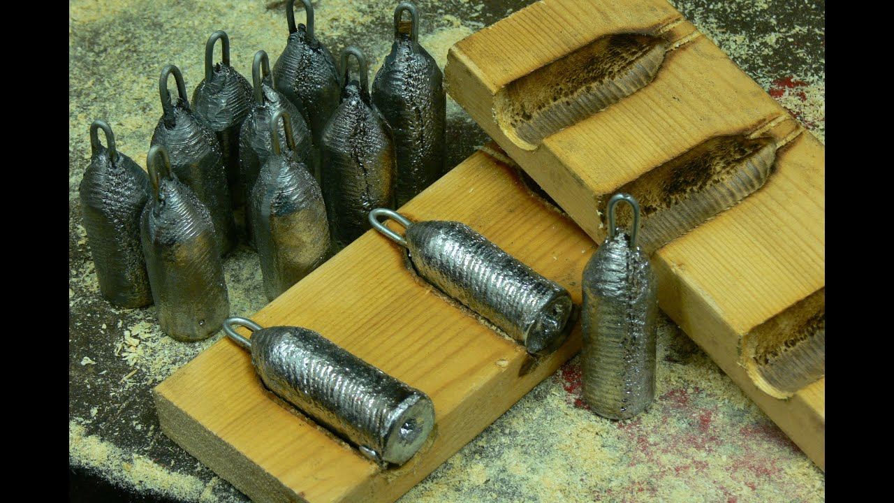 Making lead fishing weights in wooden moulds doovi for Fishing worm molds