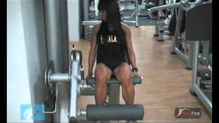 leg extension with paa sg fitness model ms melissa wee