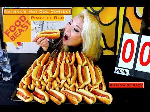 Nathan's HotDog Contest 10min Practice Run @ Foodbeast Office | RainaisCrazy