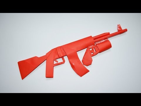 How to make a paper AK 47 with grenade launcher - paper toy - origami