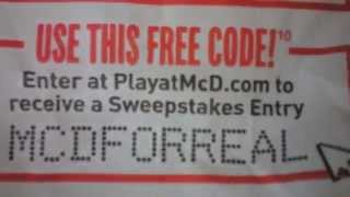 2012 Update How to Win Mcdonalds Playatmcd.com 3 FREE Entry Codes