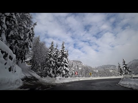 Winter Julian Alps mountain pass Ljubelj (Slovenia to Austria)
