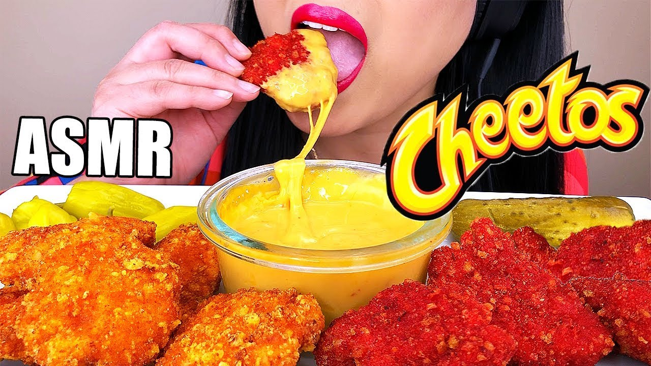 CHEESY HOT CHEETOS CHICKEN NUGGETS ASMR *SPICY Flamin' HOT* COOKING & EATING NO TALKING | A