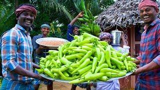 MIRCHI & RAW BANANA BAJJI   1000 Bajji Making in Village   Milagai Vazhakkai Bajji   Rainy Snacks