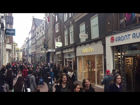 Main Shopping street Kalverstraat in Amsterdam