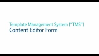 Template management system (tms ...