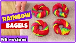 Delightful RAINBOW BAGEL And Cream Cheese Sandwich Recipe By HooplaKidz Recipes