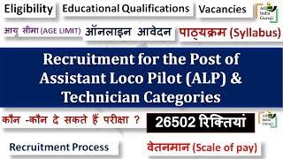 RRB Recruitment Assistant Loco Pilot (ALP) & Technician Categories notification 2018 2017 Video