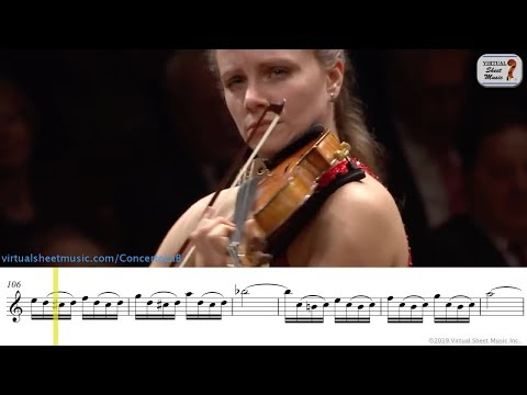 Bach : Concerto for violin in A minor - Julia Fischer - 1st Movement - Sheet Music Play Along