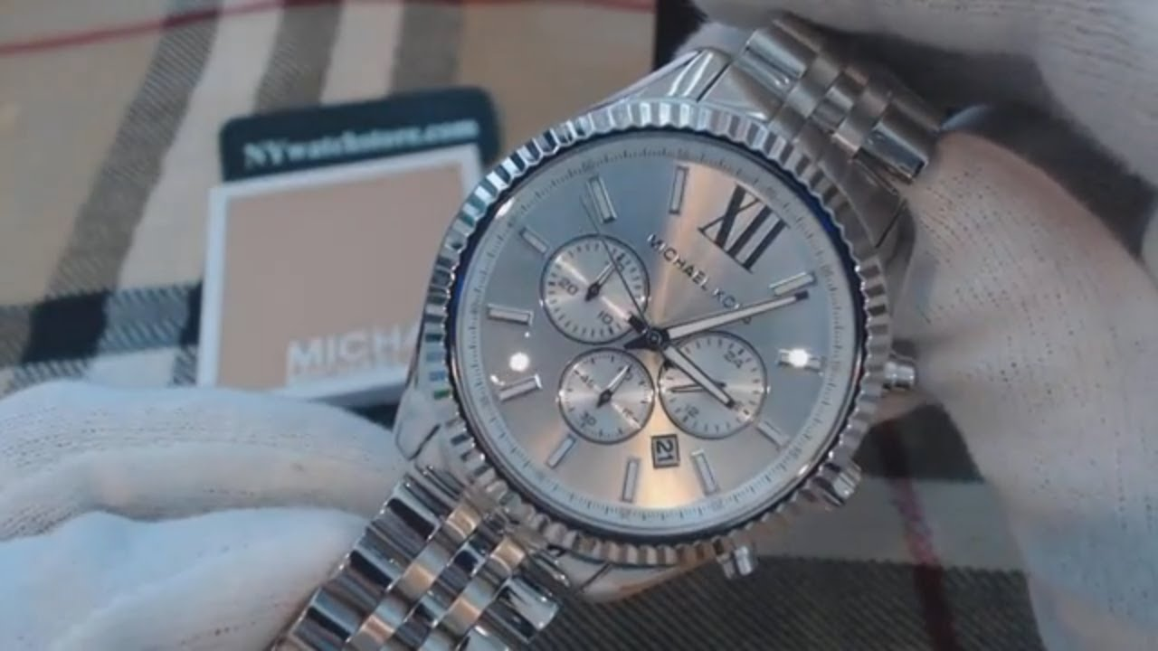 80753eaf1461 Men s Michael Kors Lexington Steel Chronograph Watch MK8405 - YouTube