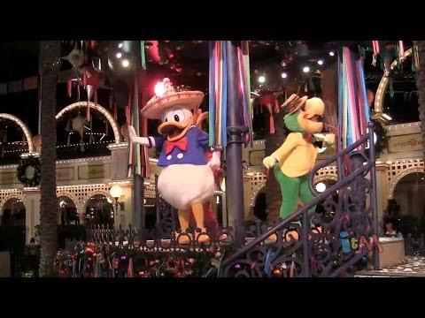 Viva Navidad Street Party parade debut with Three Caballeros, Mickey, Minnie at Disneyland