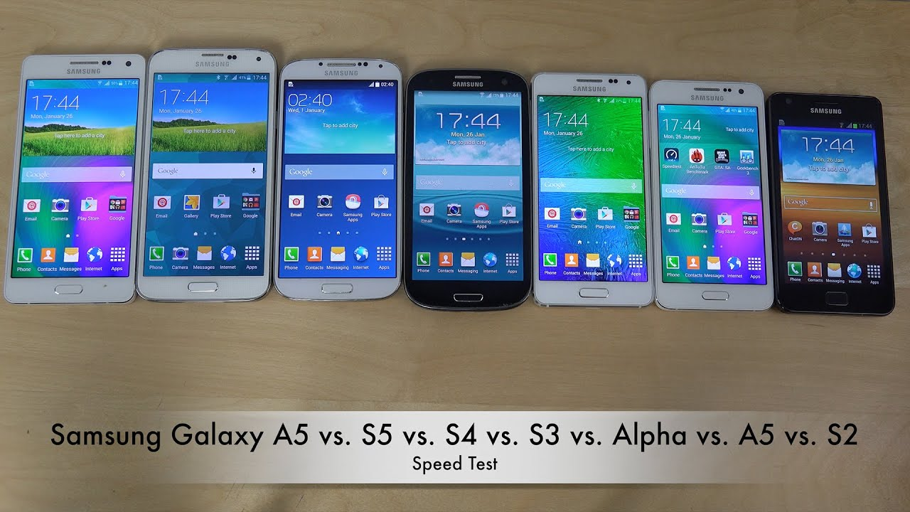 samsung galaxy a5 vs s5 vs s4 vs s3 vs alpha vs a3 vs s2 which is faster youtube. Black Bedroom Furniture Sets. Home Design Ideas