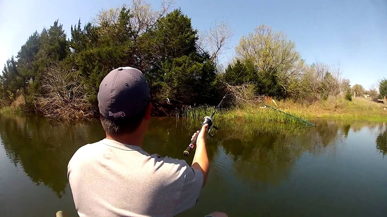 Gopro bass fishing april 2013 oklahoma farm pond youtube for Bass fishing ponds