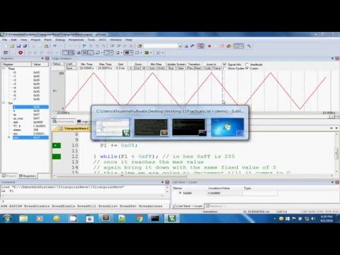 Embedded System Practical - Triangular Wave using Keil uVision