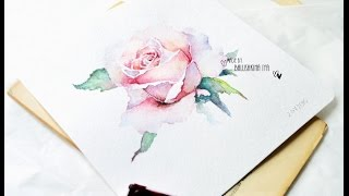 Рисуем розу акварелью / Rose watercolor paint(Урок, основанный на картине художника LaFe / Lesson based on the picture artist LaFe., 2016-07-02T23:56:33.000Z)