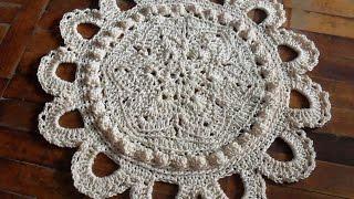 Первые коврики. Проект вязания овального коврика из пакетов