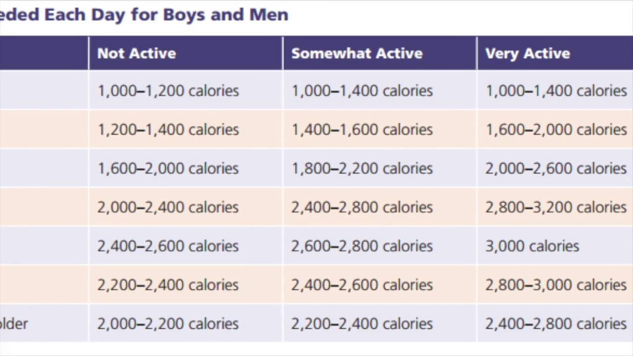 Daily Calorie Intake For Boys Men 14 50 Youtube