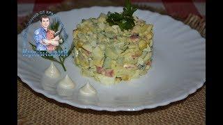 Крабовый салат классический без риса с огурцом