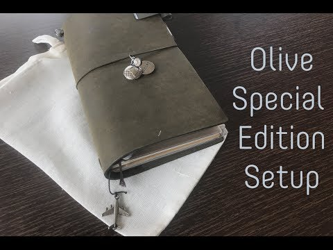 Olive Limited Edition Traveler's Notebook unboxing and setup