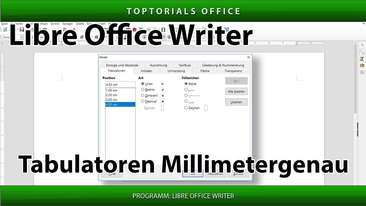 Tabulatoren Setzen Millimetergenau Libreoffice Writer Youtube