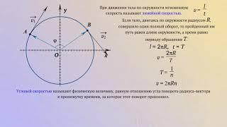Линейная и угловая скорости при равномерном движении по окружности