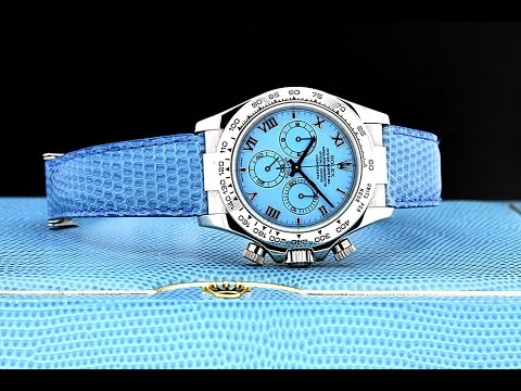 Rolex Beach Daytona Blue Turquoise 18k Solid Gold Watch