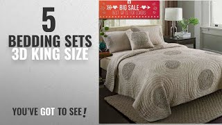 Top 10 Bedding Sets 3D King Size [2018]: Quilt King Size 100% Cotton Patchwork Bedspread with 3D