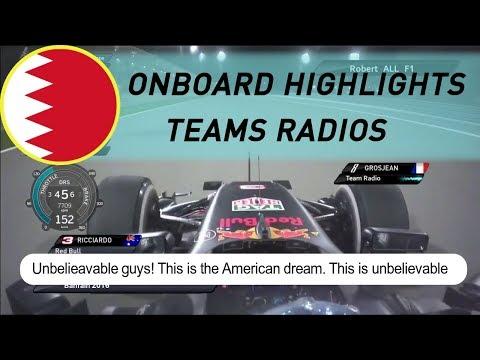 F1 2016 BAHRAIN RACE | Onboard highlights-Teams Radios